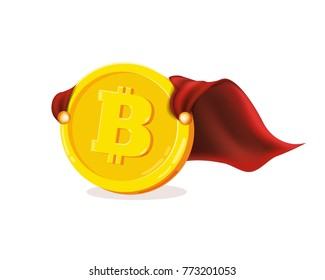 Funny super hero superman businessman flying Bitcoin. Miner bit coin digital currency cryptocurrency. Orange coin with bitcoin symbol isolated white background. Vector illustration flat style design