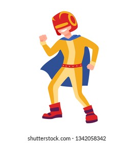 Funny superboy or superchild. Brave and strong superhero kid standing in powerful position. Fantastic child hero with super power wearing helmet, bodysuit and cape. Flat cartoon vector illustration.
