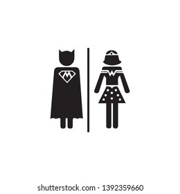 funny superhero Toilette wc silhouette sign symbol hand drawn vector black and white