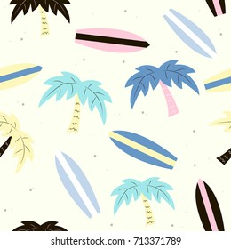 Funny surfing seamless pattern with palm tree. Vector hand drawn illustration.