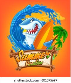 Funny Surfing Shark
