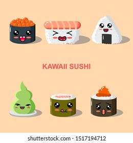 Funny sushi characters. Funny sushi with cute faces. Sushi roll and sashimi set. Happy sushi characters. Asian food, vector illustration isolated on white background.