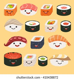 Funny sushi characters with cute faces and sashimi set. Happy sushi characters. Roll funny set. Asian food, vector illustration isolated on white background