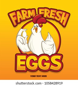 Funny sweet chicken Show egg with one hand vector character illustration