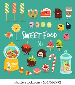 Funny sweet food characters illustrations set. Comic treats and candies. Confectionery and dessert. Cartoon lollipops, ice-creams, macaroons and marshmallows sweets characters. Isolated color vector