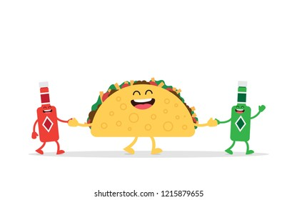 Funny Taco mexican food, Isolated on blue background. Vector illustration in cartoon style