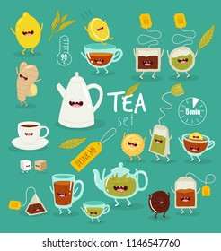 Funny tea illustrations set. Hot drink. Cups, pots, biscuits, lemons cartoon characters. Color cute happy smiling teatime objects. Colorful cartoon tea club vector items
