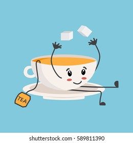 Funny tea with sugar, cartoon style vector illustration isolated on blue background. Cute cups with coffee.