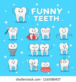 Funny teeth icon set. Dental cute characters, face of laughter and amusement, humorous stomatology. Vector flat style teeth cartoon illustration isolated on blue background
