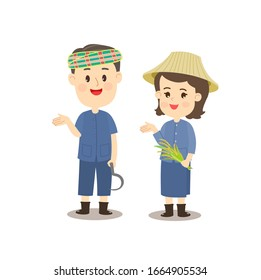 Funny Thai Farmer Character Vector