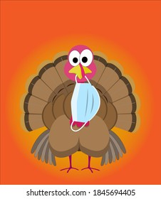Funny thanksgiving turkey with a surgical face mask hanging from his beak during the coronavirus pandemic