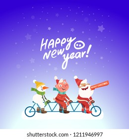 Funny three person tandem bike pictures. Santa Claus, Snowman and funny pig ride bicycle. Hand drawn lettering Happy New Year. Vector illustration