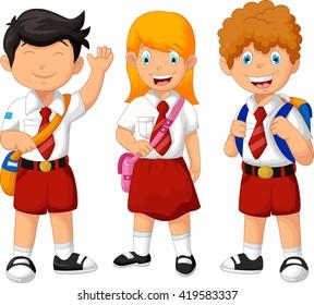 funny three student cartoon