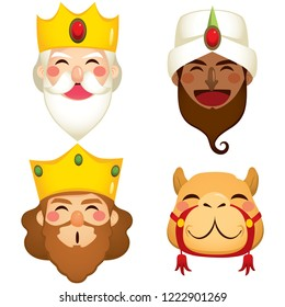 Funny three wise kings and camel faces masks