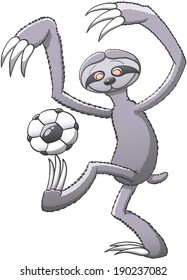 Funny three-toed gray sloth in a very enthusiastic mode playing with a soccer ball, balancing it on its claws and trying to keep balance with its long arms while smiling in a nice attitude