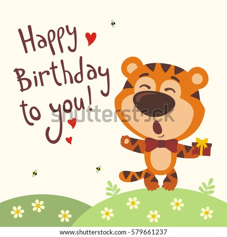 Funny Tiger Sings Song Happy Birthday To You Greeting Card In Cartoon Style
