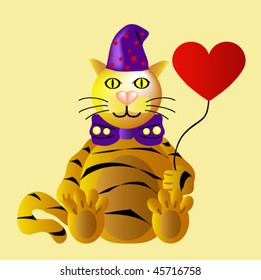 Funny Tiger at Valentine's Day with heart  balloon