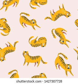 Funny tigers repeat print. Lying, walking and lasting. Vector seamless pattern design for kids. Isolated animals on the pink background.