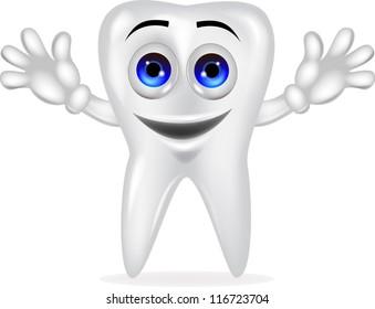Funny tooth cartoon