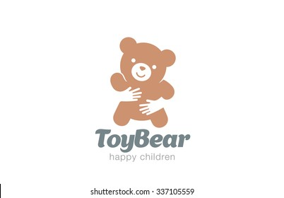 Funny Toy Bear Embrace Logo design vector template. Negative space icon. Animal Logotype Children store concept.