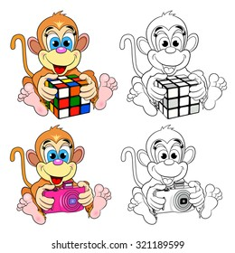 Funny toy monkey with a colored cube and a camera. Color picture and a coloring book.