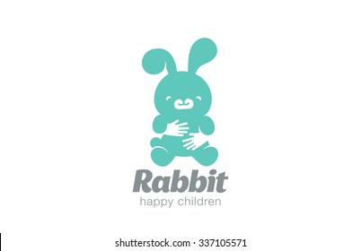Funny Toy Rabbit Embrace Logo design vector template. Negative space icon. Animal Hare Logotype Children store concept.