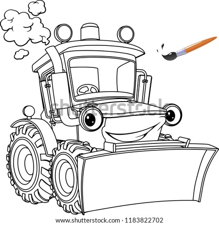 Funny Tractor Bulldozer Coloring Pages Coloring Stock Vector