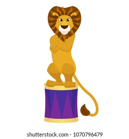 Funny trained lion in a circus arena. Vector illustration