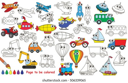 Funny transport set toys to be colored. Coloring book to educate preschool kids with easy kid educational gaming and primary education of simple game level of difficulty.