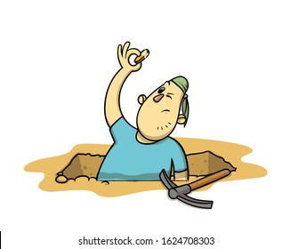 Funny treasure hunter with a coin in his hand. Cartoon archaeologist sticking out of an excavation pit. Flat vector illustration, isolated on white background.