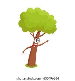 Funny Tree Character Showing Pointing Something Stock Vector Royalty Free 633496664 The best selection of royalty free cartoon tree face vector art, graphics and stock illustrations. funny tree character showing pointing