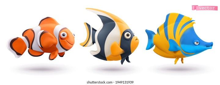 Funny tropical fish. Clownfish, angelfish, butterflyfish 3d vector cartoon icon set