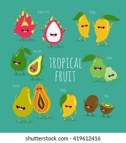 Funny tropical fruits. Guava, papaya, mango, kiwi, dragon fruit, avocado. Vector illustration. Comic character