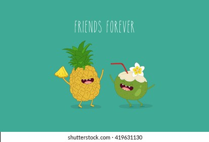 Funny tropical fruits. Pineapple and coconut. Friend forever.
