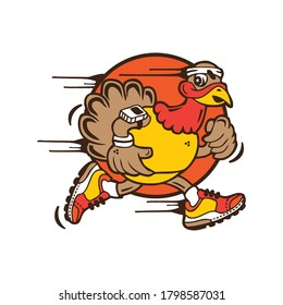 Funny turkey cartoon running for you design.