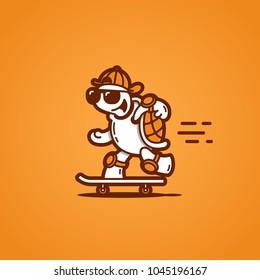 Funny turtle on a skateboard. Vector illustration.