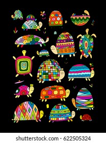 Funny turtles collection, sketch for your design. Vector illustration