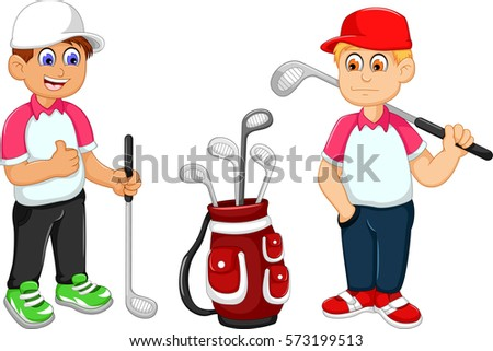 Funny Two Man Cartoon Playing Golf Stock Vektorgrafik Lizenzfrei