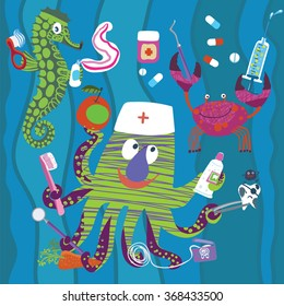 Funny underwater dentists. Octopus with dental floss, toothpaste, toothbrush,sad sick tooth. Seahorse and crab. Dental concept for your design. Illustration for children dentistry and orthodontics.