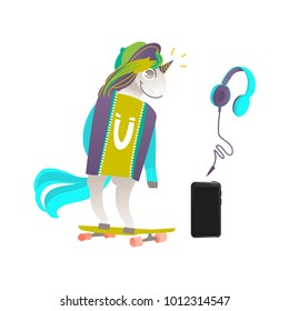 Funny unicorn character skating on skateboard and smartphone with headphones, flat cartoon vector illustration isolated on white background. Set of unicorn skater, headphones and smartphone