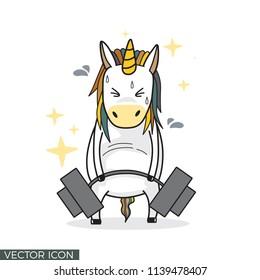 Funny Unicorn Drawing Lifting Barbell