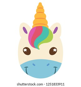 Funny unicorn head. Cute cartoon character. Vector clip art illustration on white background.
