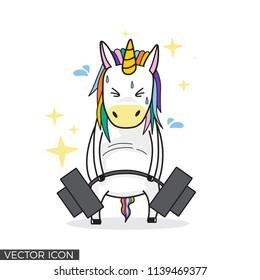 Funny Unicorn Lifting Barbell VECTOR