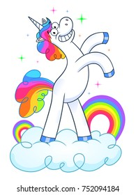 Funny unicorn on cloud with rainbow