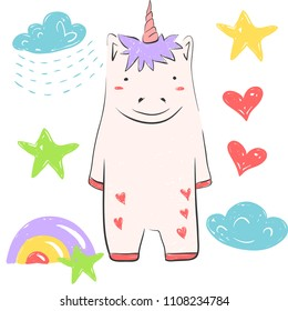 Funny unIllustration with star, rainbow, clud, rain, heart. Illustration about fairy animals for children design. Cartoon style.