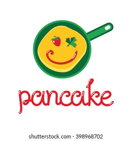 Funny and unusual logo for pancakes. Pan with pancake inside. Pancake looks like face with strawberry and leaf of parsley instead of eyes and jam instead of mouth.