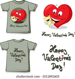 funny valentine shirt with heart and teddy - vector illustration