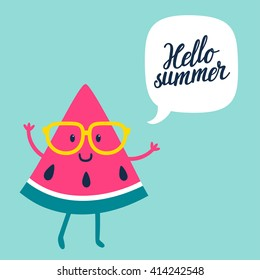 """Funny vector background with watermelon slice in glasses, speech bubble and hand written text """"Hello summer"""". Hand drawing summer card."""