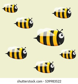 Funny vector bee on a light background