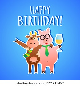 Funny vector birthday greeting card with animals